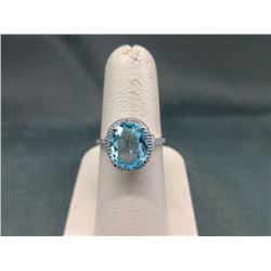 Certified Blue Topaz & Diamond Solitaire Ring