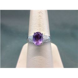 Certified Amethyst & Diamond Cocktail Ring