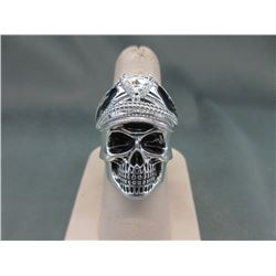Man's Stainless Steel Biker Ring with Military Cap