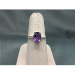 Large 1+ CT Amethyst Solitaire Ring