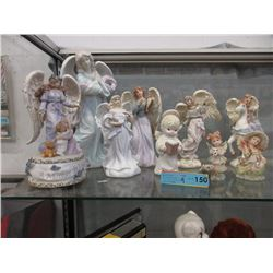 9 Angel Statues - Assorted Materials