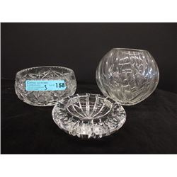 Crystal Vase, Bowl & Ashtray
