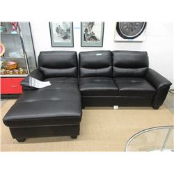 "New 97"" Black Leather Like Sofa with Chaise End"
