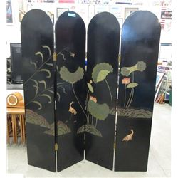 Asian Lacquer 4-Panel Folding Room Divider