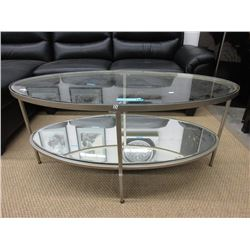 New Glass Top Coffee Table w/ Mirrored Base Shelf