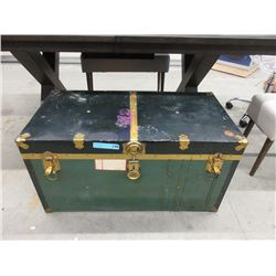 Vintage Metal Clad Shipping Trunk