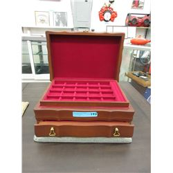 Wood Jewelry Chest with 2 Removable Trays