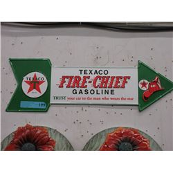 Embossed Tin Texaco Fire Chief Sign