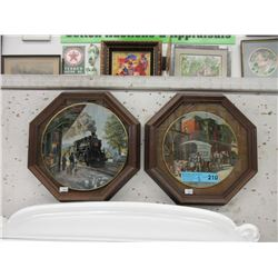 Pair of Framed Ted Xaras Train Collector Plates