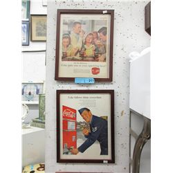Pair of Framed Vintage Coca-Cola Magazine Ads