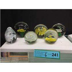 6 Art Glass Paperweights