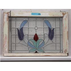 Vintage Leaded Stain Glass Window