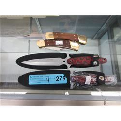 """2 New Folding Knives & Two 5"""" Daggers"""