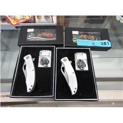 4 New Folding Knives - 2 With Lighters