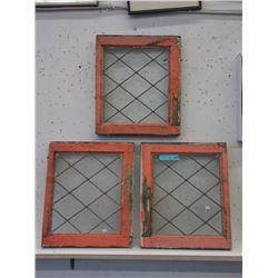 3 Vintage Leaded Glass Windows