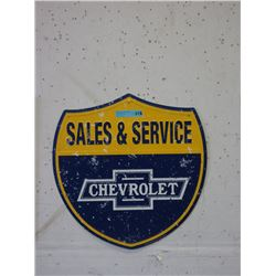 Embossed Metal Chevrolet Shield Sign