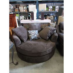 Brown Upholstered Cuddler Chair with Cushions
