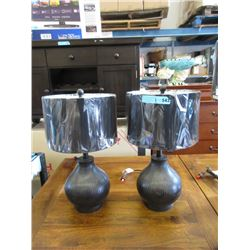 """Pair of New 21"""" Wood Base Table Lamps"""