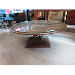 Vintage Round Coffee Table with Glass Top