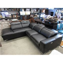 "New 108"" Black Leather Power Reclining Sectional"