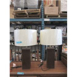 """Pair of New 26"""" Table Lamps w/ Leather Bases"""