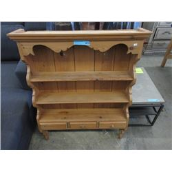 Pine Wood Hanging Wall Rack with Plate Rails