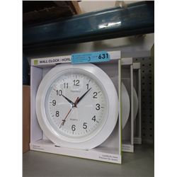 "3 New 10"" Wall Clocks with Glass Lens"