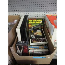 Box of Elvis Collectibles & a Gun Magazines