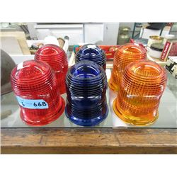 6 Vintage Glass Runway Light Shades