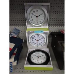 "3 New 10"" Wall Clocks - Glass Lens"