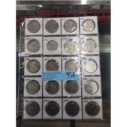 20 Canadian One Dollar Coins - 1970's and 1980's