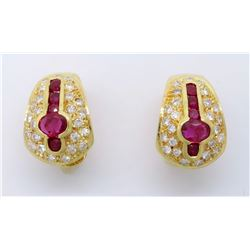 18KT Yellow Gold Ruby and Diamond Earrings