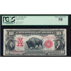 1901 $10 Bison Legal Tender Note PCGS 58