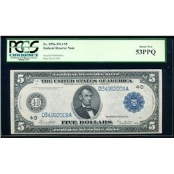 1914 $5 Cleveland Federal Reserve Bank Note PCGS 53PPQ