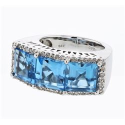 14KT White Gold 9.19ctw Blue Topaz and Diamond Ring