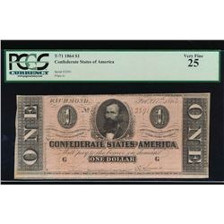 1886 $1 Confederate States of American Note PCGS VF25
