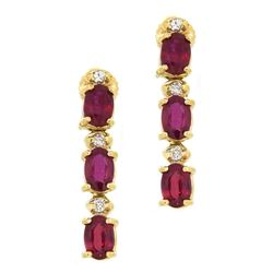 14KT White Gold 4.24ctw Ruby and Diamond Earrings