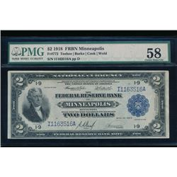 1918 $1 Minneapolis Large Federal Reserve Bank Note PMG 58