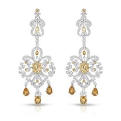 14KT White Gold 2.19ctw Citrine and Diamond Earrings