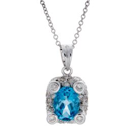 18KT White Gold 1.47ct Blue Topaz and Diamond Pendant with Chain