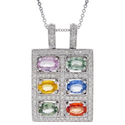 14KT White Gold 3.60ctw Multi Color Sapphire and Diamond Pendant with Chain