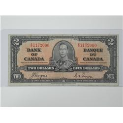 1937 Bank of Canada Two Dollar Note. C/T