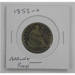 1853 - O USA Half Dollar 'Arrows and Rays' Scarce.