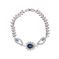 Ladies .925 Silver Sapphire Blue and White Swarovs