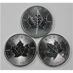 3x .9999 Fine Silver Maple Coin