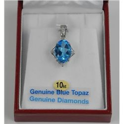 (BB12) 10kt Gold Genuine Blue Topaz Pendant with D