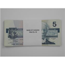 10x 1986 Bank of Canada $5.00.