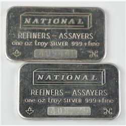 2x National Refiners and Assayers. 1oz Fine Silver Bars. Dated with Serial Numbers. Blank Back, Coll