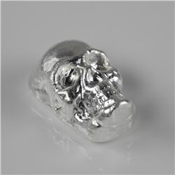.999 Fine Silver 2oz Skull - Hand Poured in Canada Using LBMA Sourced Silver - Collector Bullion