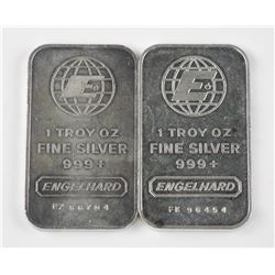 2x .999+ Fine Silver Engelhard Bar. Highly Collectible. Serial Numbered. Dated.